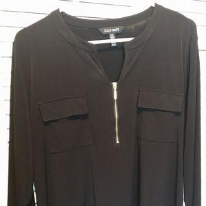 Black Ellen Tracy blouse with zipper, size XL
